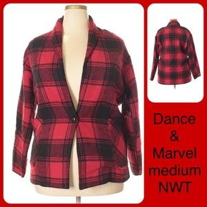 Red Buffalo Plaid Check Jacket Cardigan NWT 8